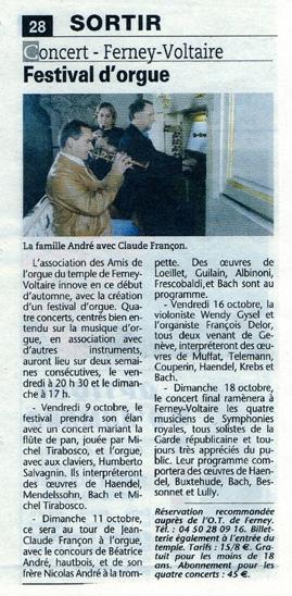 1e festival des Amis de l'Orgue de Ferney-Voltaire