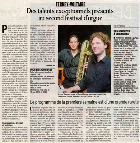 2e festival des Amis de l'Orgue de Ferney-Voltaire