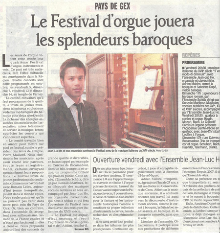 4e festival des Amis de l'Orgue de Ferney-Voltaire